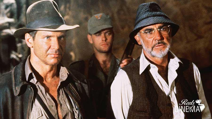 Indiana Jones (Harrison Ford) junto a su padre (Sean Connery)